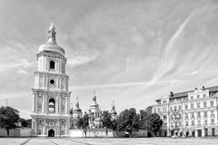Saint Sophia Church in Kiev. Black and white photo of Saint Sophia Church in Kiev with a high tower bell, Ukraine royalty free stock image