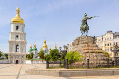 Saint Sophia Church in Kiev. Saint Sophia Church and Bohdan Khmelnytsky statue in Kiev, Ukraine royalty free stock image