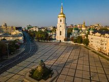 Saint Sophia`s Cathedral, square with Bohdan Khmelnytsky Monument. Kiev Kiyv Ukraine with Places of Interest. Aerial. Drone photo. Sunrise light Stock Image