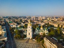 Saint Sophia`s Cathedral, square. Kiev Kiyv Ukraine with Places of Interest. Aerial drone photo. Sunrise light. City. Panarama. Summer time Stock Photography