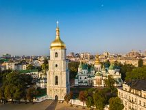 Saint Sophia`s Cathedral, square. Kiev Kiyv Ukraine with Places of Interest. Aerial drone photo. Sunrise light. Golden domes royalty free stock photos