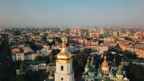Saint Sophia`s Cathedral, square. Kiev Kiyv Ukraine with Places of Interest. Aerial drone video footage. Sunrise light stock video
