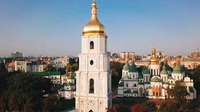 Saint Sophia`s Cathedral, square. Kiev Kiyv Ukraine with Places of Interest. Aerial drone video footage. Sunrise light. City panarama. the camera moves away stock video