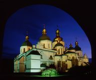 Saint Sophia`s Cathedral throgh arch Royalty Free Stock Images