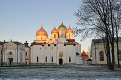 Saint Sophia's cathedral in Veliky Novgorod, Russia - winter landscape Stock Images
