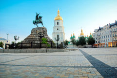 Saint Sophia square and cathedral in Kiev. Saint Sophia square and Bogdan Hmelnitskiy monument and Saint Sophia cathedral in Kiev, Ukraine Royalty Free Stock Images