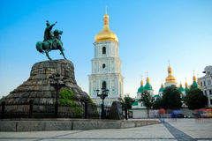 Saint Sophia square and cathedral in Kiev. Saint Sophia square and Bogdan Hmelnitskiy monument and Saint Sophia cathedral in Kiev, Ukraine Royalty Free Stock Image
