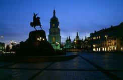 Saint Sophia& x27;s Cathedral and Bohdan Khmelnytsky monument  - Kiev Royalty Free Stock Photos