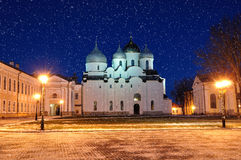 Saint Sophia's cathedral in Veliky Novgorod, Russia - night landscape Royalty Free Stock Images