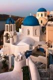 Saint Spyridon Church and Anastasis Church in the Morning, Oia, Royalty Free Stock Image