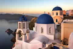 Saint Spyridon Church and Anastasis Church in the Morning, Oia, Stock Photo
