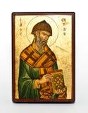 Saint Spyridon orthodox icon. Golden orthodox icon of Saint Spyridon Stock Photography