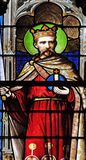 Saint, stained glass window in Saint Severin church in Paris royalty free stock image