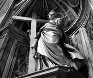 Saint statue. In vatican in black and white Stock Photo