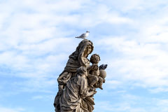 Saint statues sculptures of the Charles bridge Royalty Free Stock Photos