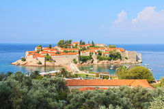 Saint Stefan island. Former fortress, currently luxury resort in Montenegro Royalty Free Stock Photography