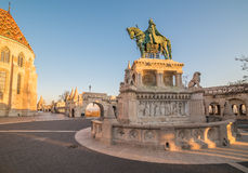 Saint Stefan Statue in Budapest, Hungary in Sunrise Stock Photo