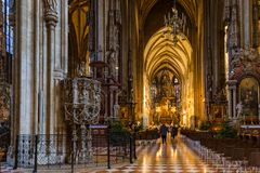 Saint Stephan cathedral interior in Vienna Austria stock image