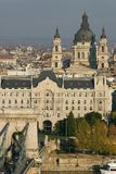 Saint Stephen basilica. View of Budapest (capital of Hungary, Central Europe) from the castle hill with River Danube, Lánchíd (Chain bridge), Szent István Stock Photography