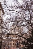 Saint Stephen basilica in winter cover snow, Budapest, Hungary stock image