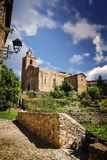 Saint Stephen Church in Baga, Barcelona, near Berga. Medieval architecture in Catalonia and empty copy space. For Editor`s text Stock Image