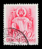 Saint Stephen, Church in Hungary serie, circa 1939. MOSCOW, RUSSIA - FEBRUARY 9, 2019: A stamp printed in Hungary shows Saint Stephen, Church in Hungary serie stock image