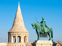 Saint Stephen I mounted statue- the first king of Hungary at Fisherman`s Bastion in Budapest Stock Photo