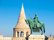 Saint Stephen I mounted statue- the first king of Hungary at Fisherman`s Bastion in Budapest Stock Image
