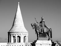 Saint Stephen I mounted statue- the first king of Hungary at Fisherman`s Bastion in Budapest Stock Photography