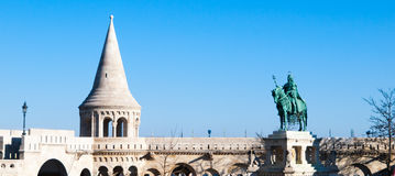 Saint Stephen I mounted statue- the first king of Hungary at Fisherman`s Bastion in Budapest Stock Images