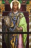 Saint Stephen king of Hungary. Detail of windowpane in  holy shrine Marianka Stock Image