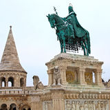 Saint Stephen monument in Fisherman`s Bastion in Budapest, Hunga Royalty Free Stock Photos