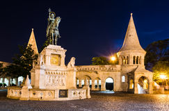 Saint Stephen Monument in night, Budapest stock images