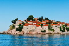 Saint Stephen`s Island, Montenegro July 2017 royalty free stock images