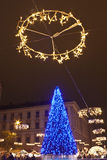 Saint Stephen square in Budapest at christmastime Royalty Free Stock Photo