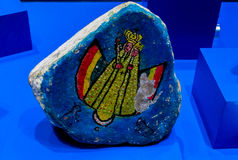 Saint stone Piedra santo con virgen de Guadalupe. Piedra santo con virgen de Guadalupe in La Paz museum, Bolivia Stock Image