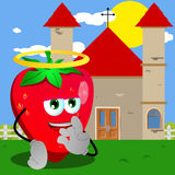 Saint strawberry gesturing okay sign in front of a church Royalty Free Stock Photos