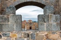 Saint Teresa square through Avila medieval wall Royalty Free Stock Photo