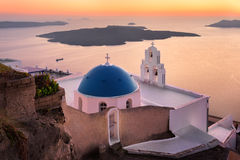 Saint Theodore Church in the Evening, Fira, Santorini, Greece Royalty Free Stock Images