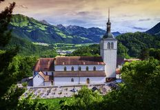 Saint-Theodule church, Gruyeres, Switzerland Royalty Free Stock Image