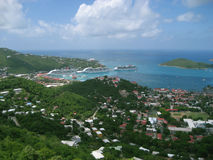 Saint Thomas Island. Three Cruise ships lined up on St. Thomas Island in the Carribean Sea Royalty Free Stock Photos