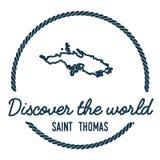 Saint Thomas Map Outline Le vintage découvrent Images libres de droits