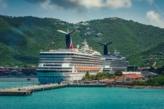 Saint Thomas / US Virgin Islands - October 31.2007: View on the back of cruise ships docked in port. stock photos