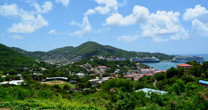 Saint Thomas. US Virgin Islands - September 10, 2014. View over St. Thomas, with cruise ships docked in the harbor Stock Photo
