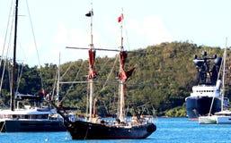 Saint Tomas. Us         pirate ship sail royalty free stock image