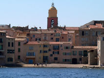 Saint Tropez. And the church tower as seen from the direction of the sea royalty free stock photos