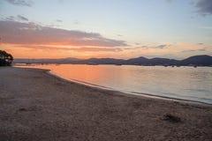 Saint Tropez beach at sunset french riviera Stock Photography