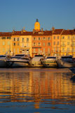 Saint Tropez in the evening light. Harbour of Saint Tropez in the evening light, France royalty free stock image