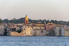 Saint Tropez France. The beautiful jetset village Saint Tropez in France at sunset stock images