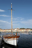 Saint Tropez harbor. Sailing ship moored in the harbor of Saint Tropez Royalty Free Stock Image